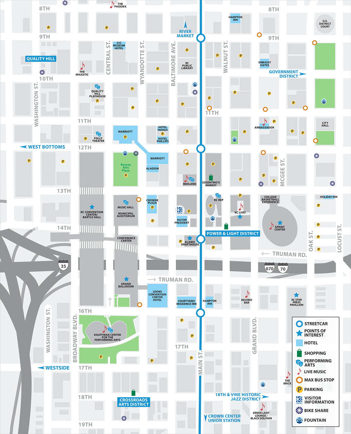 Downtown map of Kansas City, USA