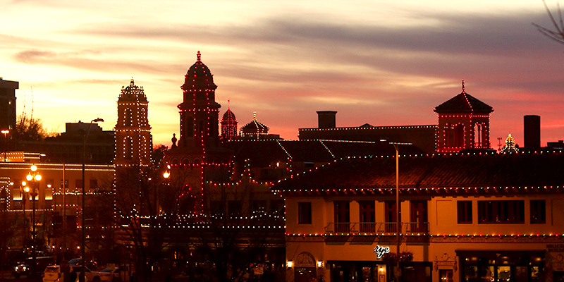 Sunset over the Country Club Plaza with the Plaza Lights Shining