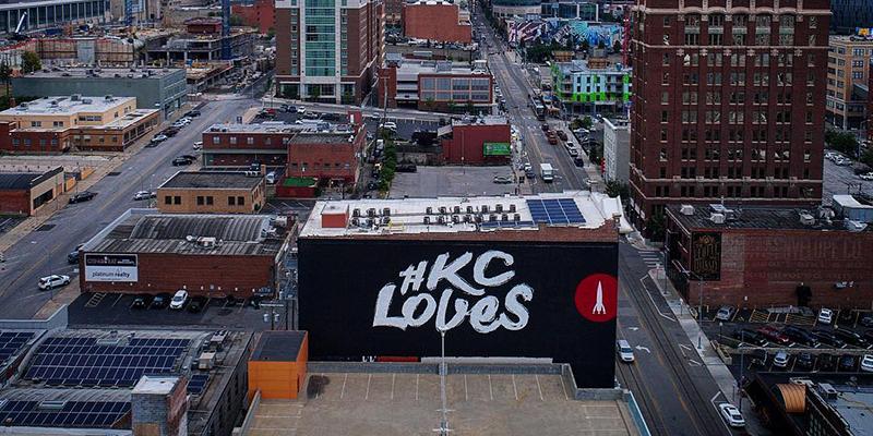 Kansas City Skyline with KC Loves mural
