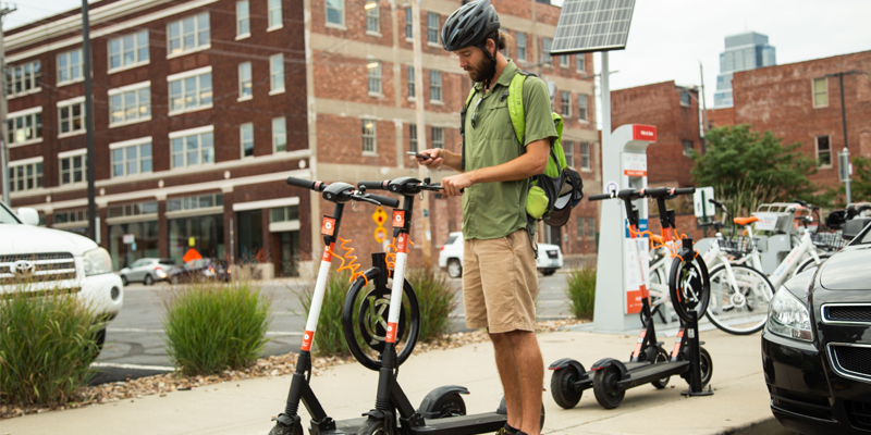 Unlocking a RideKC Scooter with the Drop Mobility app.